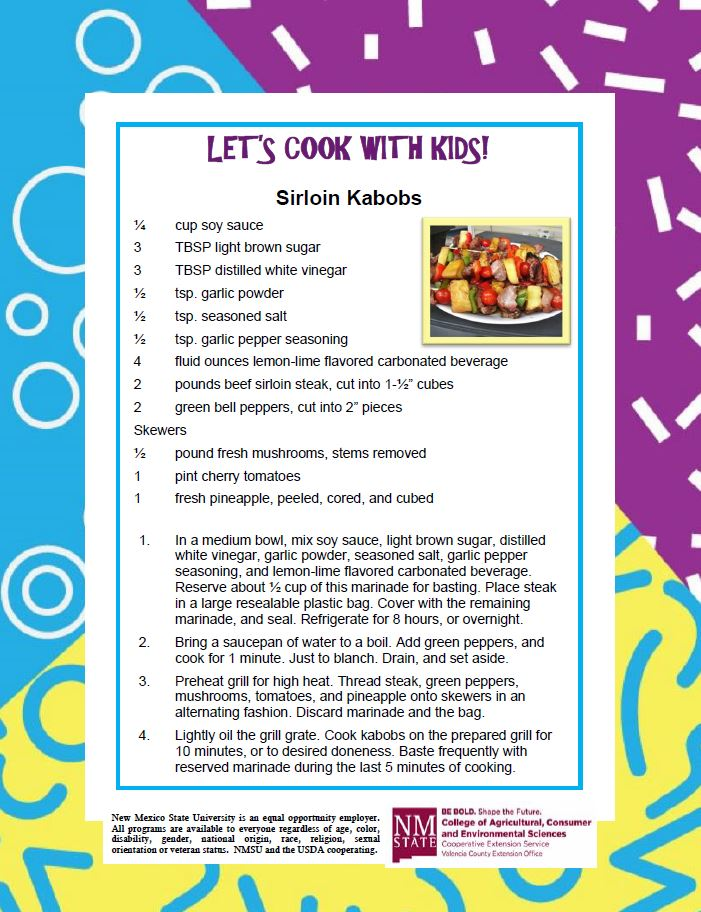 Cooking with Kids, Sirloin Kabobs